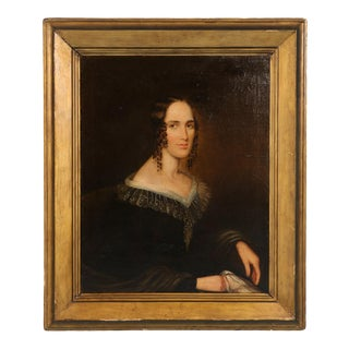 Early 19th Century Antique American Portrait of a Woman Oil Painting For Sale