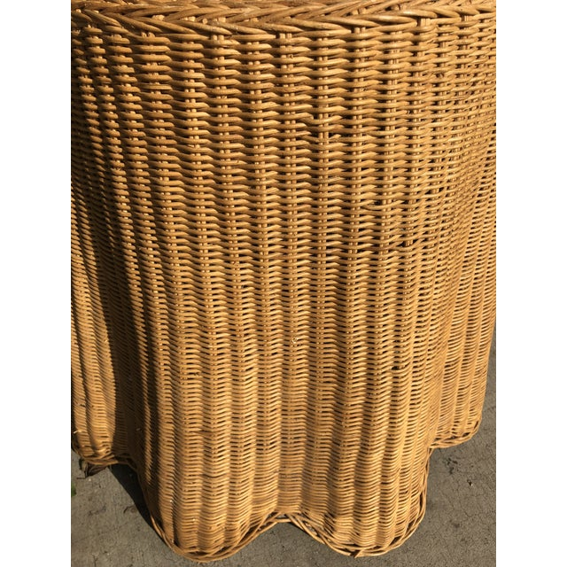 1970s Mid-Century Modern Trompe l'Oeil Rattan Ghost Side Table For Sale - Image 4 of 7