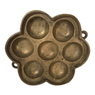 Late 19th Century Antique Brass Chinese Mooncake Mold For Sale