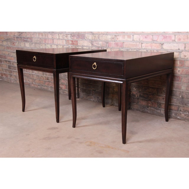 Drexel Heritage Hollywood Regency Mahogany Nightstands or End Tables, Newly Refinished For Sale - Image 13 of 13