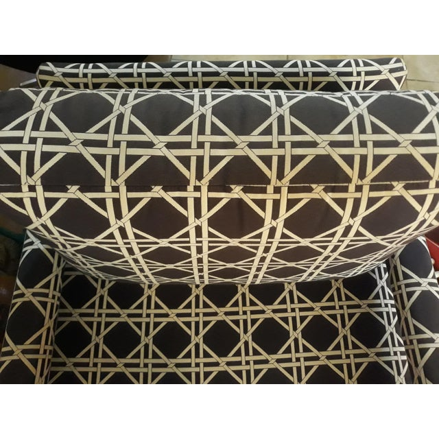 Mid Century Parsons Op Art Crossed Rope Design Black & White Upholstered Club Chairs - a Pair For Sale - Image 9 of 12