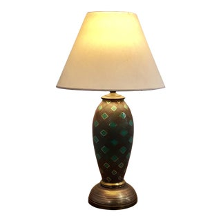 Large Brass Green and Gold Geometric Lamp For Sale