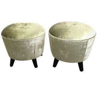 Custom Velvet and Ebonized Maple Pouf Ottomans- A Pair For Sale