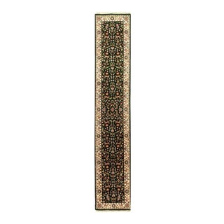Pasargad Green Fine Hand-Knotted Tabriz Runner- 2'6'' X 14' For Sale