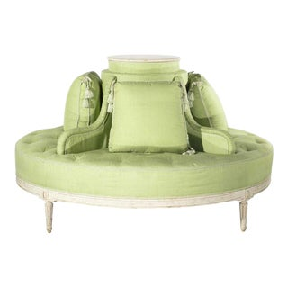 1920s Vintage Louis XVI Style Fabulous Painted & Upholstered Round Settee For Sale