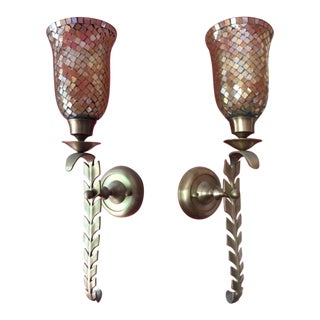 Champagne Iridescent Glass Mosaic Wall Sconces (True Color in Photos)