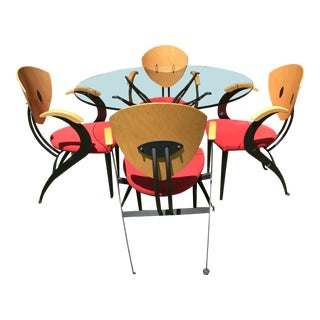 1980s Modern Nia Designed Glass Table and Chair Set- 5 Pieces For Sale