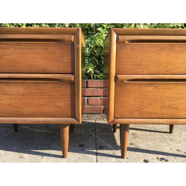 Mid-Century Modern Walnut Nightstands - A Pair - Image 3 of 6