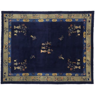 1910s Antique Chinese Peking Area Rug - 9′2″ × 11′7″ For Sale