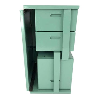 Us Military Vintage Folding Celadon Green Painted Metal Field Desk For Sale