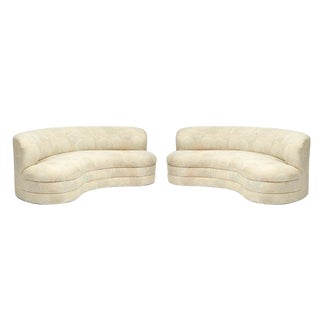 Late 20th Century Weiman Furniture Curved Sofas- a Pair For Sale