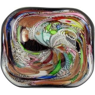 Murano AVeM Black Millefiori Flower Silver Flecks Ribbon Italian Art Glass Bowl For Sale
