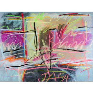Bold Graffiti Abstract Pastel Painting For Sale