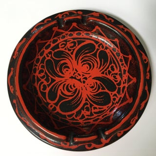 Mid-Century Modern Red and Black Italian Pottery Ashtray - Larger Size Preview