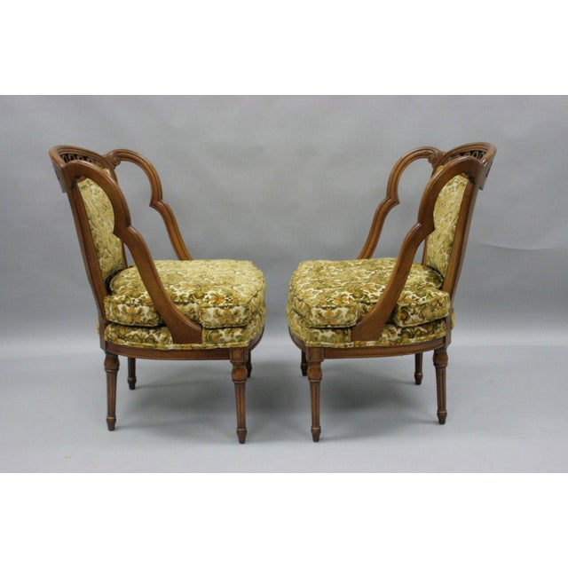 Pair of Vintage Hollywood Regency French Style Squiggle Loop Back Living Room Chairs For Sale - Image 4 of 11
