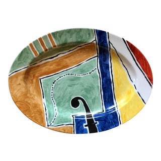 "1990s Abstract Swid Powell 14"" Oval ""Toscana"" Platter For Sale"