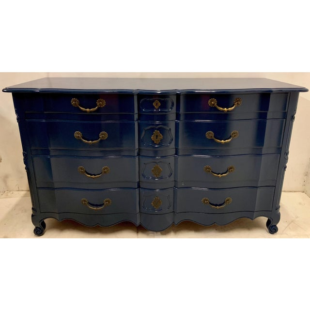 Brass Navy Lacquered John Widdicomb French Style Chest For Sale - Image 7 of 12