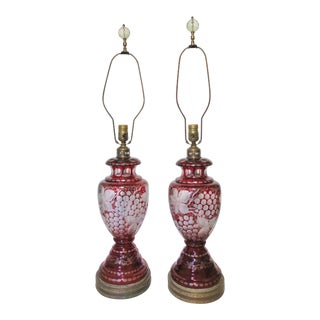 Bohemian Ruby Cut Glass Lamps/ a Pair For Sale