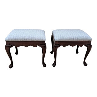 1970s Vintage Queen Anne Pennsylvania House Upholstered Footstools- A Pair For Sale
