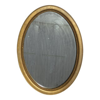 Vintage French Provincial Gold Oval Wall Mantle Mirror For Sale