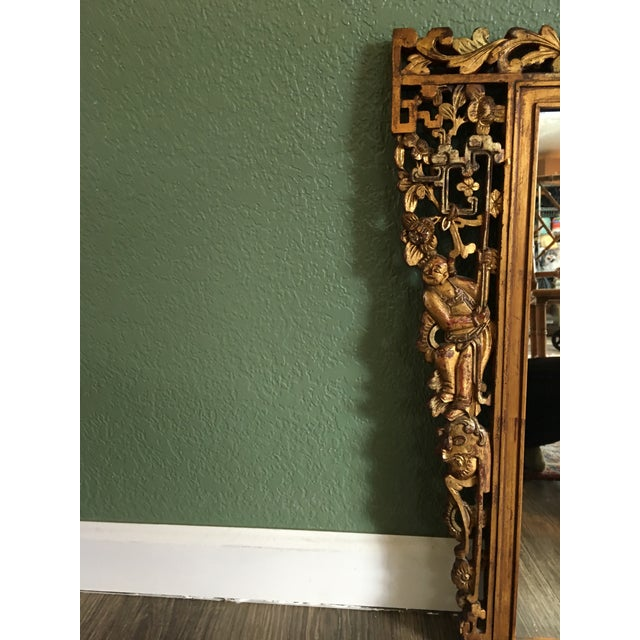 Early 20th Century Chinese Hand Carved Figurative Relief Red/Gold Gilt Lacquered Camphor Wood Mirror For Sale - Image 5 of 11