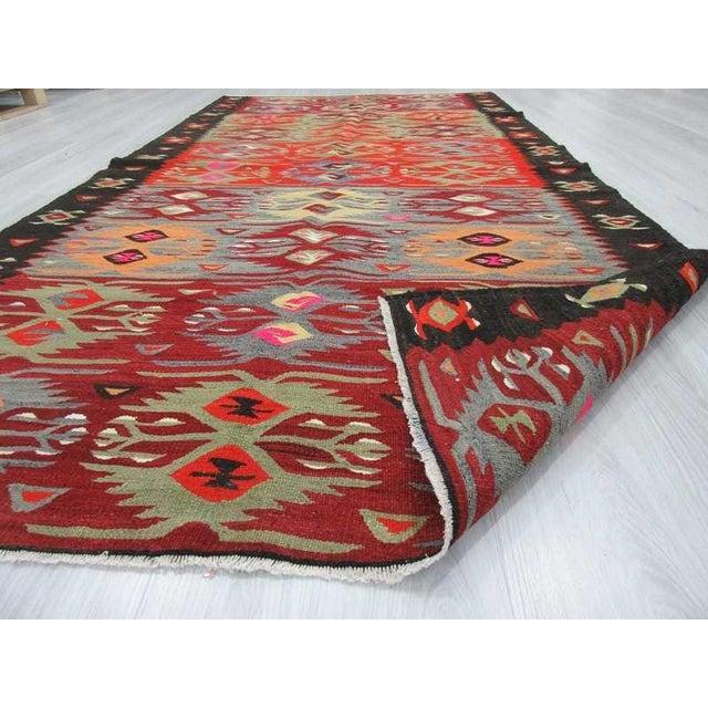 "Vintage Colorful Turkish Kilim Rug - 5'2"" X 10'4"" For Sale In Los Angeles - Image 6 of 6"