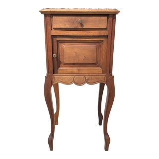 1900s French Louis XV Solid Walnut Nightstand or Side Table Marble Top For Sale