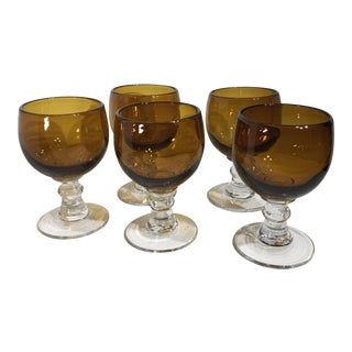 Mexican Hand Blown Very Large Brown With Clear Ball Stem Margarita Glasses - Set of 5 For Sale