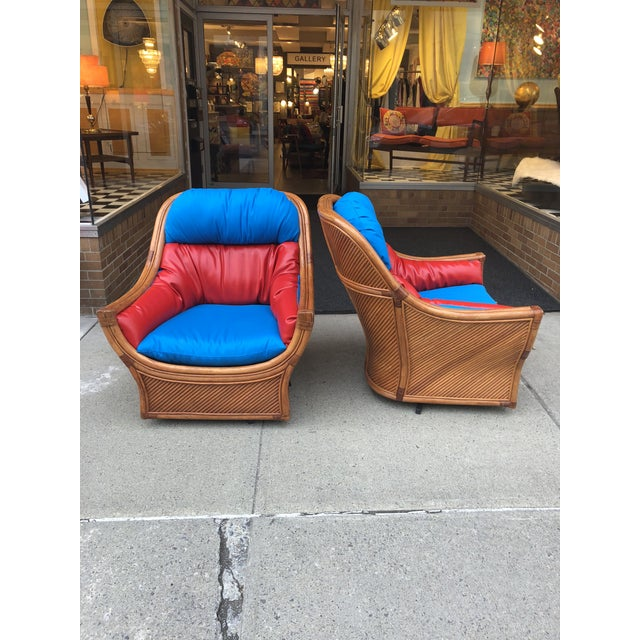 1960s Mid Century Modern Maguires Style Red and Blue Upholstered Rattan and Bamboo Outdoor Swivel Chairs - a Pair For Sale - Image 10 of 11