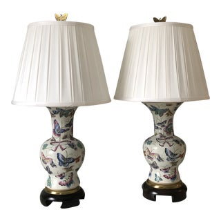 Late 20th Century Frederick Cooper Butterfly Lamps - a Pair For Sale