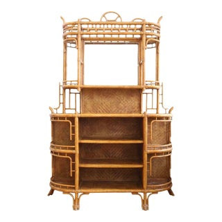 1970s Vintage Lexington Rattan Bamboo Etagere & Bar For Sale