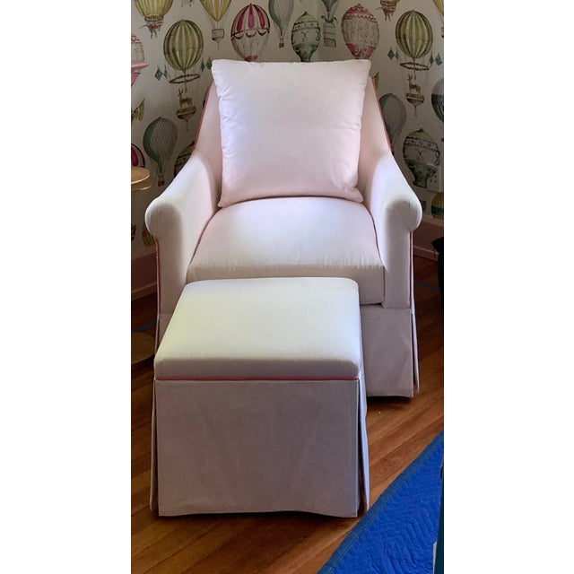 Wood Custom Pink & White Stripe Chair & Ottoman For Sale - Image 7 of 7