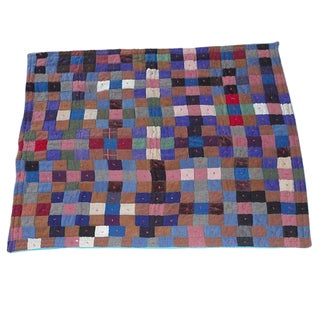 Early Pennsylvania Wool and Velvet One-Patch Quilt For Sale