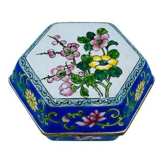 1970s Hexagonal Cloisonné Box with Floral Motif For Sale
