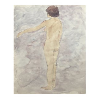 Standing Female Nude Waterccolor For Sale
