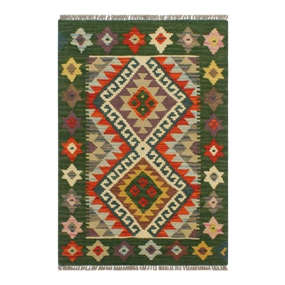 Tribal Turkish Kilim Elsie Rust/Green Hand-Woven Vintage Rug - 2'1 X 2'10 For Sale