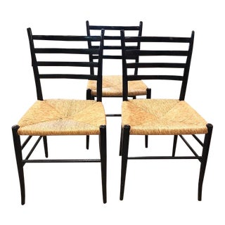 Set of 3 Mid Century Italian Gio Ponti Superleggera Style Side Chairs, Signed For Sale