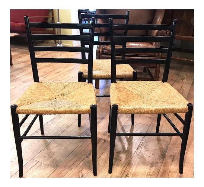 Set Of 3 Mid Century Italian Gio Ponti Superleggera Style Side Chairs,  Signed For Sale