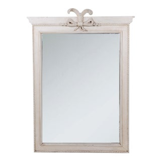 White Painted Mirror Frame With Decorative Duke of Windsor's Feather on Top For Sale