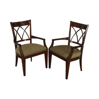 Harden Regency Style Cherry Pair Armchairs For Sale