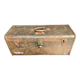 Vintage Car-Racing Crew Rusted Metal Patina Tool Box For Sale