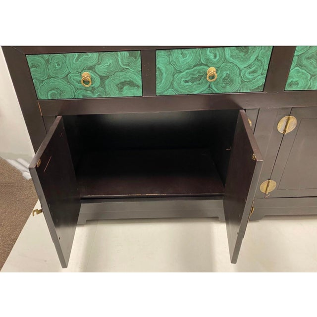 Henredon Modern Asian Style Credenza With Faux Malachite Accents by Henredon For Sale - Image 4 of 6