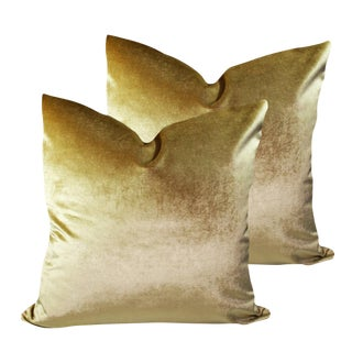 Robert Allen Lux Gold Velvet Pillows - a Pair For Sale