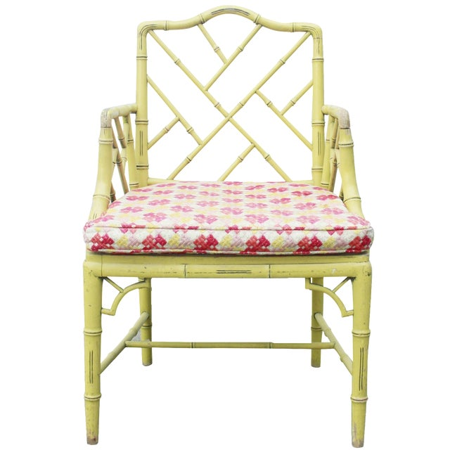 Chippendale Faux-Bamboo Fretwork Armchair - Image 1 of 8