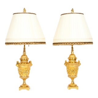 Neoclassical Gilt Bronze Urn Form Table Lamps - a Pair For Sale