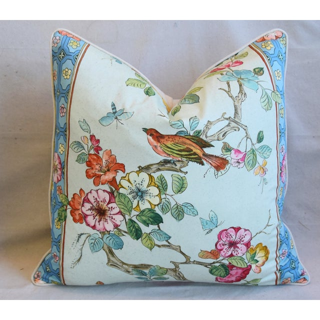 """Early 21st Century English Chinoiserie Floral & Birds Feather/Down Pillows 24"""" Square - Pair For Sale - Image 5 of 13"""