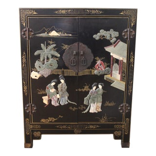 Chinoiserie Cabinet Decorated With Jade