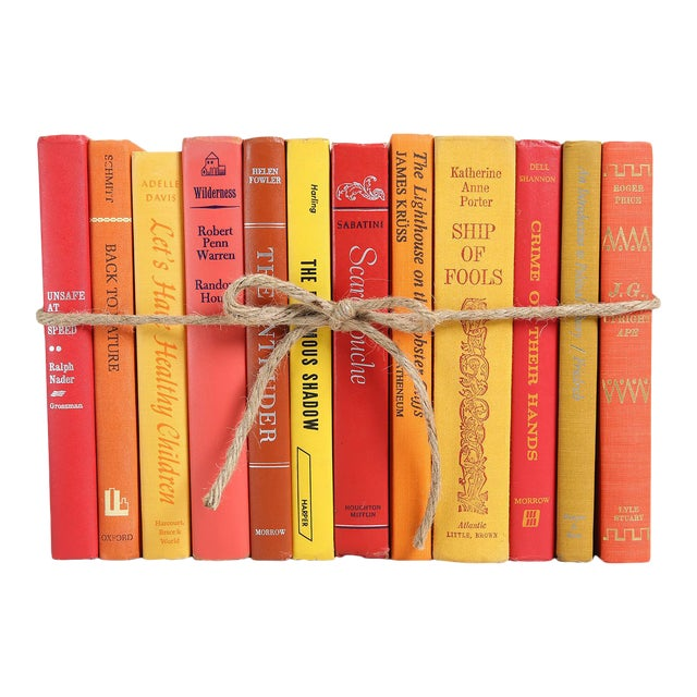 Midcentury Sunset Colorpak - Decorative Books in Shades of Orange, Yellow, Red For Sale