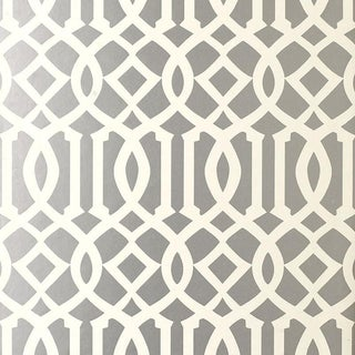 Sample - Schumacher Imperial Trellis Wallpaper in Silver For Sale