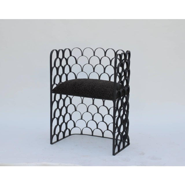 Sculptural 'Arcature' stool (or side chair) by Design Frères. Wrought iron base with Astrakhan wool seat. Pair available.